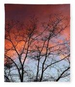 January Sunset Silhouette Fleece Blanket