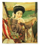 Japan Steamship Poster  1914 Fleece Blanket