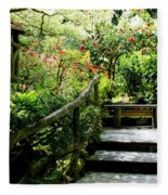 Japanese Garden Retreat Fleece Blanket