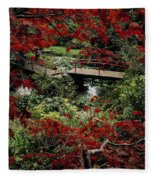 Japanese Garden, Through Acer In Fleece Blanket