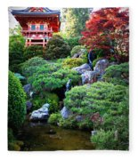 Japanese Garden With Pagoda And Pond Fleece Blanket