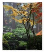 Japanese Gardens Fall Fleece Blanket
