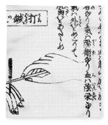 Japanese Illustration Of Moxa Fleece Blanket