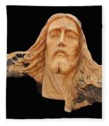 Jesus Christ Wooden Sculpture -  Four Fleece Blanket