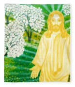 Jesus On Mount Thabor Fleece Blanket