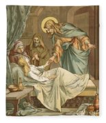 Jesus Raising Jairus's Daughter Fleece Blanket
