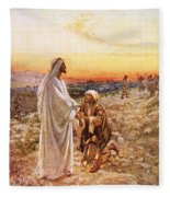 Jesus Withe The One Leper Who Returned To Give Thanks Fleece Blanket