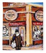 Jewish Montreal Vintage City Scenes Fish Market On Roy Street Fleece Blanket