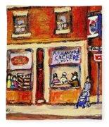 Jewish Montreal Vintage City Scenes Hutchison Street Butcher Shop  Fleece Blanket