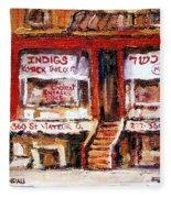Jewish Montreal Vintage City Scenes Indigs Kosher Butcher Fleece Blanket