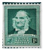 John James Audubon Postage Stamp Fleece Blanket