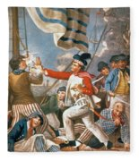 John Paul Jones Shooting A Sailor Who Had Attempted To Strike His Colours In An Engagement Fleece Blanket