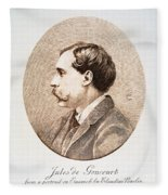Jules A.h. De Goncourt (1830-1870). French Novelist: Engraving After A Contemporary Portrait On Enamel Fleece Blanket
