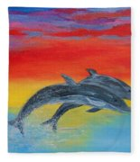 Jumping Dolphins Right Fleece Blanket
