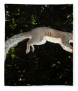 Jumping Gray Squirrel Fleece Blanket