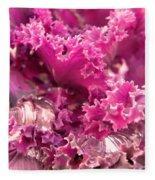Kale Plant With Melting Snow Fleece Blanket