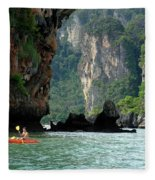 Kayaking In Thailand Fleece Blanket