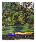 Kayaks On The Little Sandy Fleece Blanket