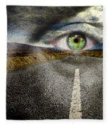 Keep Your Eyes On The Road Fleece Blanket
