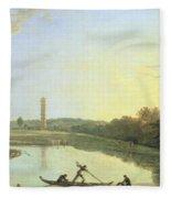 Kew Gardens - The Pagoda And Bridge Fleece Blanket