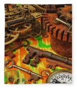 Keys Gears And Compass Fleece Blanket