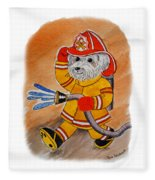 Kids Art Firedog Firefighter  Fleece Blanket