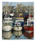 Kilkeel, Co Down, Ireland Rows Of Boats Fleece Blanket