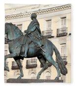 King Charles IIi Statue On Puerta Del Sol Fleece Blanket