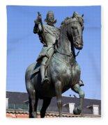 King Philip IIi Statue In Madrid Fleece Blanket