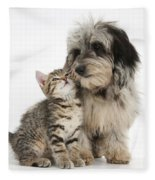 Kitten And Daxie-doodle Puppy Fleece Blanket