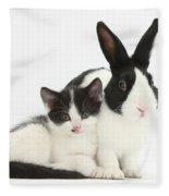 Kitten And Dutch Rabbit Fleece Blanket