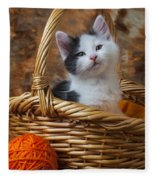 Kitten In Basket With Orange Yarn Fleece Blanket