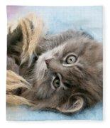 Kitten In Blanket Fleece Blanket
