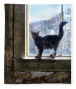 Kitten On Windowsill Of Abandoned House Fleece Blanket
