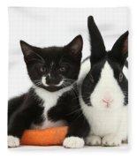 Kitten, Rabbit And Carrot Fleece Blanket
