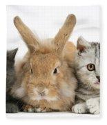 Kittens And Rabbit Fleece Blanket
