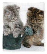 Kittens And Watering Can Fleece Blanket