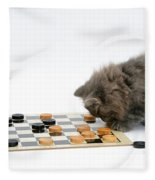 Kittens Playing Checkers Fleece Blanket