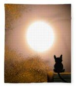 Kitty And The Moon Fleece Blanket