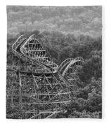 Knobels Wooden Roller Coaster Black And White Fleece Blanket
