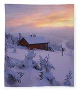 La Chouette Cabin At Twilight, Gaspesie Fleece Blanket