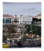 A Galleon At Bottom Of Port Mahon Menorca One Of The Largest Natural Harbours In The World Fleece Blanket