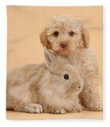 Labradoodle Puppy With Rabbit Fleece Blanket