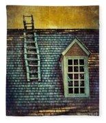 Ladder On Roof Fleece Blanket