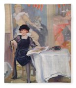 Lady At A Cafe Table  Fleece Blanket