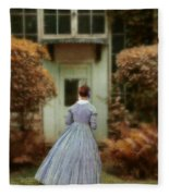 Lady In 19th Century Clothing By Conservatory Fleece Blanket