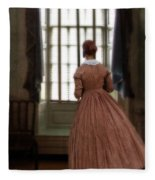 Lady In 19th Century Clothing Looking Out Window Fleece Blanket
