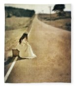 Lady In Gown Sitting By Road On Suitcase Fleece Blanket