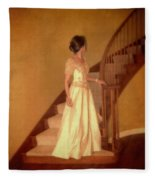 Lady In Lace Gown On Staircase Fleece Blanket