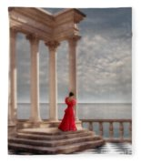 Lady In Red Gown By The Sea Fleece Blanket